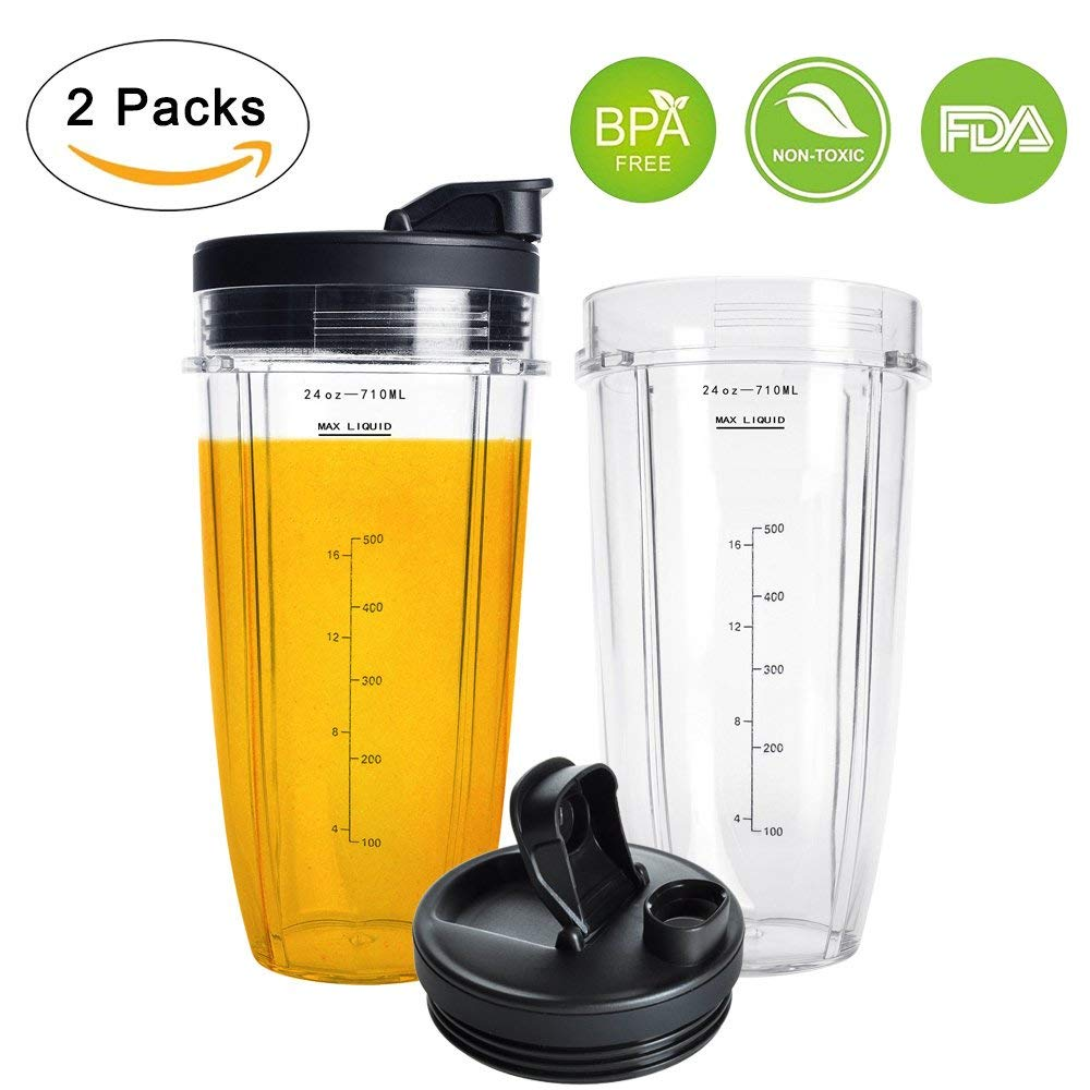 Nutri Ninja 24OZ Replacement Parts,QT 2Packs Nutri Ninja Replacement Cups With Sip & Seal Lids,710ML(24oz) Measuring Scale Cup Mug, FIT FOR Nutri Ninja Auto IQ Series Blenders