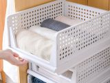 Clothes case Storage case Drawer Closet Folding 3 pieces Plastic case Clothes storage Clothes box Push-in kitchen storage Organizing box Clothes storage box in the chest of drawers plastic large capacity Stackable Easy to assemble breathable